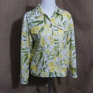 Yellow Alfred Dunner Floral Cotton Jacket 10